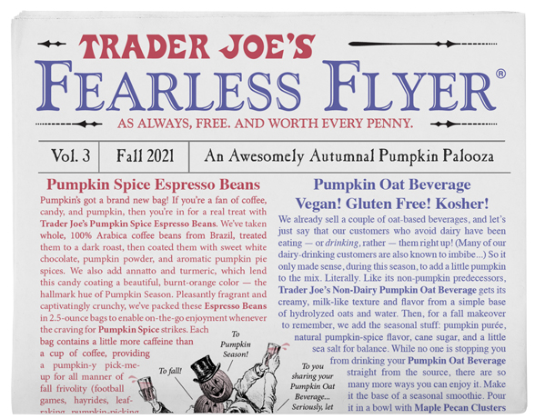 Front page of the Trader Joe's Fearless Flyer